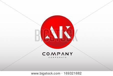 AK letter alphabet dot circle red simple flat technology modern creative vector logo icon sign design template