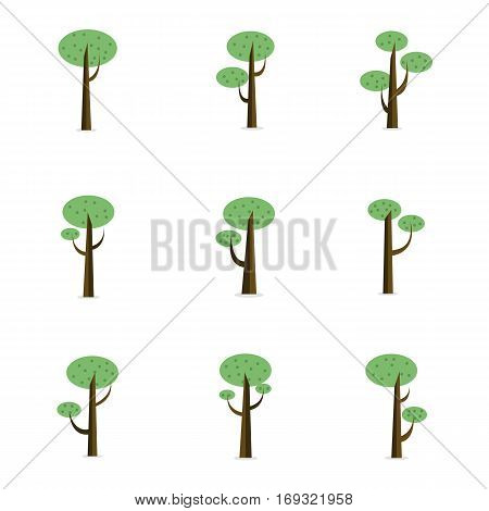 Tree style collection of vector flat collection stock