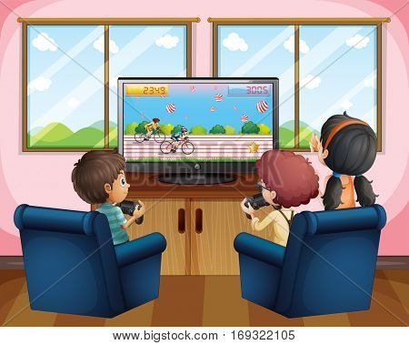 Three kids playing computer game at home illustration