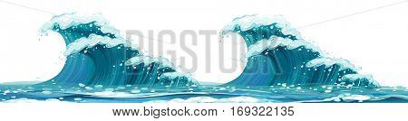Giant waves on white background illustration