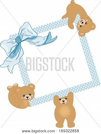 Scalable vectorial image representing a baby teddy bears holding blue frame and ribbon, isolated on white.