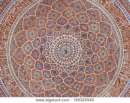 DELHI, INDIA - FEBRUARY 13: Detail of the ceiling in Isa Khan's Tomb. Humayun's Tomb complex, Delhi, India on February 13, 2016