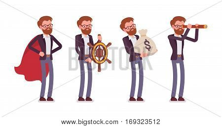 Set of young male manager in the business image of superhero, capitan, holding money sack, watching in spyglass. Metaphor of wealth, leadership, vision, full length, isolated against white background