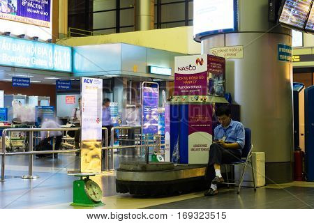 Hanoi, Vietnam - Nov 27, 2014: Luggage packing area in Noi Bai international airport