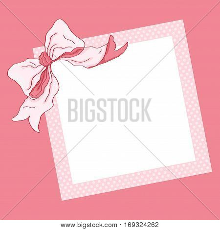 Scalable vectorial image representing a pink frame and ribbon background.