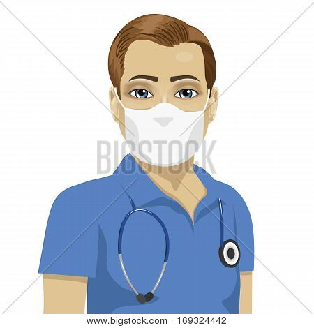 young male nurse wearing surgical antiviral mask over white background