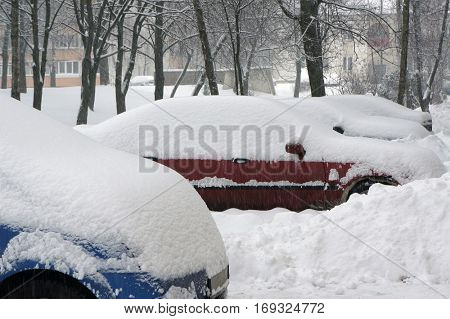 Snow on cars after snowfall. Winter urban scene.