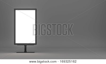 Lightboxe On gray Background. 3D rendering. Template for your Design