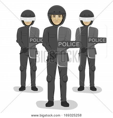 policeman team with riot gear and helmets standing over white background