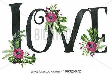 Love Sign Made Of Chalkboard Texture Letters And Watercolor Floral Wreaths
