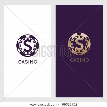 Casino logo banner, dollar sign icon in chip, royal label symbol, logotype concept. Will be suitable for flyer, poster. vector illustration isolated on white background.