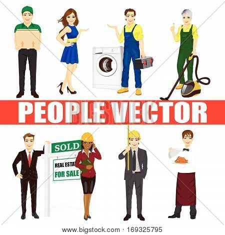 Set of diverse people. Various professions. Courier, fair hostesses, repairman, vacuum cleaner, real estate agent, architect, waiter, maid