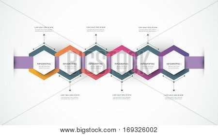 Vector infographics timeline design template with 3D paper label, integrated hexagon background. Blank space for content, business, infographic, marketing, flowchart, process diagram, time line