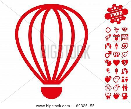 Aerostat icon with bonus lovely pictograph collection. Vector illustration style is flat iconic red symbols on white background.