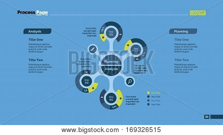 Four branches process mind map slide template. Business data. Percentage, graph, diagram. Concept for infographic, templates, presentation, report. Can be used for topics like banking, management, finance.