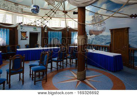 MOGILEV BELARUS - APRIL 24 2015: Interior of banquet hall of restaurant