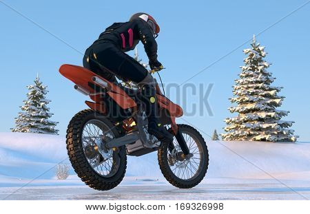 Motocross in the winter woods.,3d render
