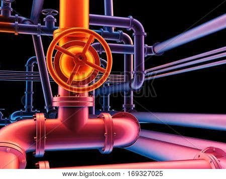 Graphical representation of industrial pipes.,3d render