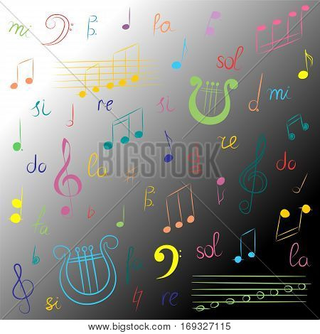 Hand Drawn Set of Music Symbols. Colorful Doodle Treble Clef Bass Clef Notes and Lyre on Monochrome Background. Sketch Style. Vector Illustration.