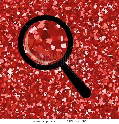 Seamless bright red glitter high quality texture with isolated loupe . Shimmer hearts love background. Vector illustration