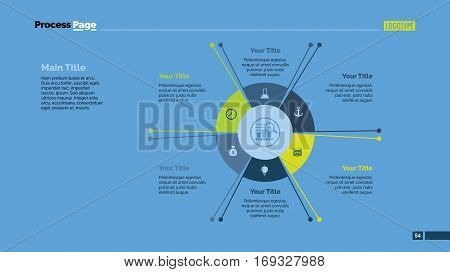 Six sectors process chart slide template. Business data. Circle, diagram, design. Concept for infographic, presentation, marketing. Can be used for topics like management, strategy, teamwork.