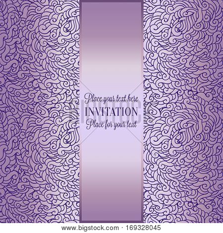 Romantic background with luxury lilac with violet tracery vintage frame, victorian banner, made of feathers wallpaper ornaments, invitation card, baroque style booklet, fashion pattern.