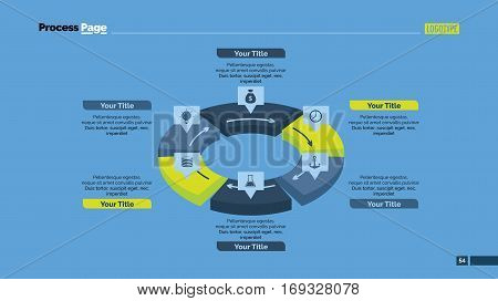 Six sectors cycle process chart slide template. Business data. Circle, diagram, design. Concept for infographic, presentation. Can be used for topics like management, strategy, teamwork.