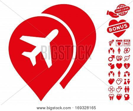 Airport Map Markers pictograph with bonus dating symbols. Vector illustration style is flat iconic red symbols on white background.