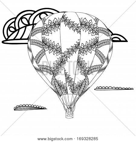 Summer theme. Black and white air balloon and doodle illustration. Zentangle inspired pattern for anti stress coloring book pages for adults and kids