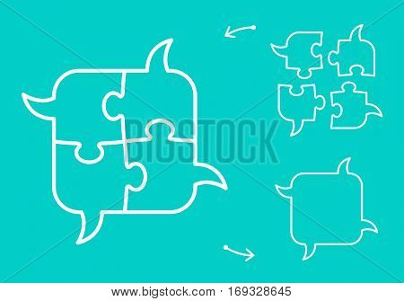 Jigsaw puzzle piece bubbles figures symbolizing collaborative speech and idea sharing unity concept vector illustration