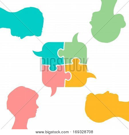 Set of colored flat puzzle piece bubbles with male and female head figures symbolizing collaborative speech concept isolated on white background vector illustration