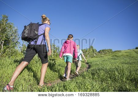 hiking together in a beautiful mountain meadow trail. Lots of copy space. Full length photo. Mother wearing a backpack while kids lead ahead along meadow path