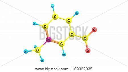 Trigonelline is an alkaloid with chemical formula C7H7NO2. It is a zwitterion formed by the methylation of the nitrogen atom of niacin or vitamin B3. 3d illustration