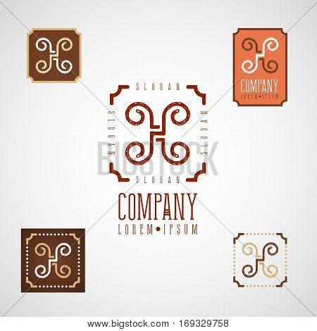 Elegant decorative logo for food cafe restaurant confectionary menu design with monogram letter H