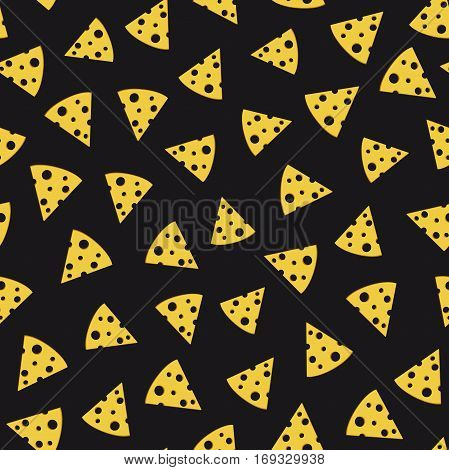 Cheese slices seamless pattern. Triangular slices of cheese on black background.