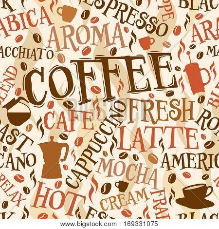 Vector seamless tile of coffee words and symbols
