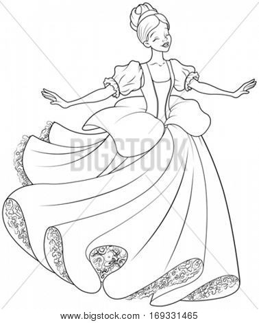 The royal ball dance of Cinderella coloring page