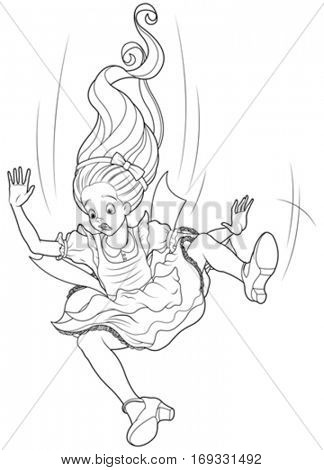 Alice is falling down into the rabbit hole coloring page
