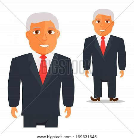 Man in Black Suit with Red Tie Cartoon Character. Vector illustration
