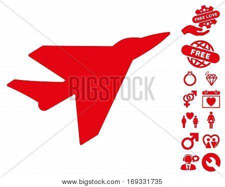 Intercepter icon with bonus valentine clip art. Vector illustration style is flat iconic red symbols on white background.