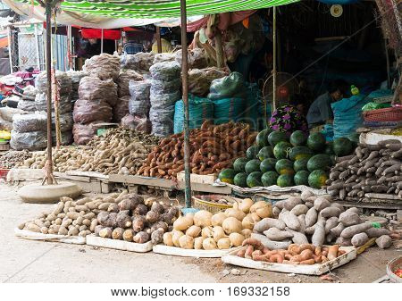 Vinh Long, Vietnam - Nov 30, 2014: Tropical fruits displayed at Vinh Long fruit market, Mekong delta. The majority of Vietnam's fruits come from the many orchards of the Mekong Delta