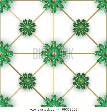 Floral seamless pattern for fabrics, textiles, wallpaper, paper. Vector. Green stylized flowers on golden greed. Perfect orderliness background