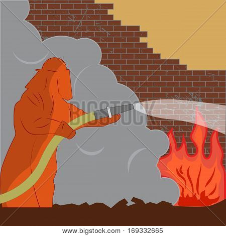 Vector illustration of a fireman puts out the fire. Firefighter pours from a hose on the fire.