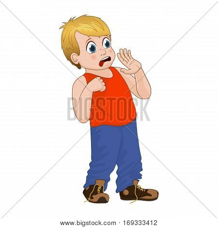 Little bully boy scared, face showing fear emotion. Boy in red T-shirt and denim pants. Vector Illustration