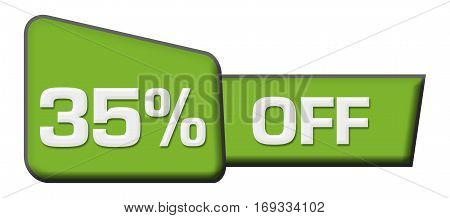 Thirty-five percent off text written over abstract blue background.