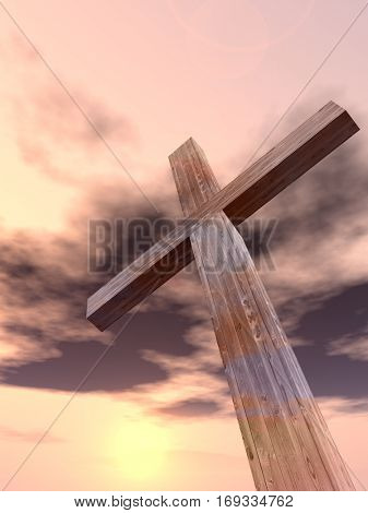3D illustration conceptual wood cross or religion symbol shape over a sunset sky with clouds background for God, Christ, Christianity, religious, faith, holy, spiritual, Jesus, belief or resurection
