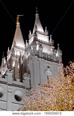 Salt Lake City Mormon Temple LDS latter day saint at night