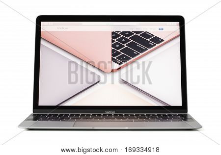 RIGA LATVIA - February 06 2017: 12-inch Macbook laptop computer in different colors on screen.