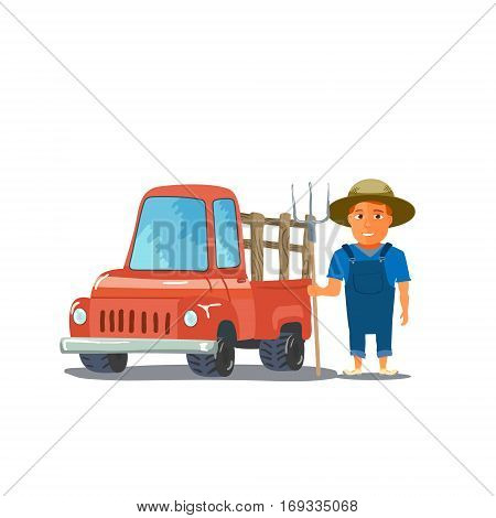 Cartoon Farmer Character with red Pickup Truck. Vector illustration