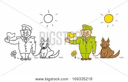 Vector coloring humorous caricature character. Cheerful military border guard with a dog on a leash and flag